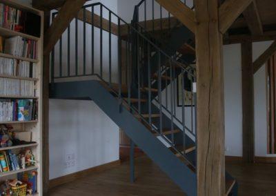 escalier fer marche chene logonna daoulas - Escaliers